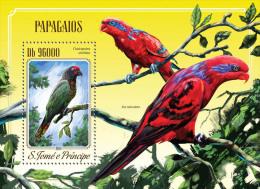 st14515b S.Tome Principe 2014 Birds Parrots s/s