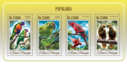 st14515a S.Tome Principe 2014 Birds Parrots s/s