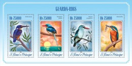 st14510a S.Tome Principe 2014 Kingfishers Birds Fish s/s