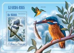 st14510b S.Tome Principe 2014 Kingfishers Birds Fish s/s