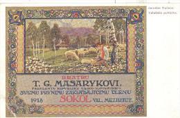 Feldpostkarte  Jaroslav Kucera  Bratru  T.G. Masarykovi 1918 SOKOL - Weltkrieg 1914-18