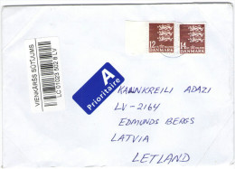 DANIMARCA - DANMARK - 2014 - 12 + 14 - Prioritarie  - Viaggiata Da Ebeltoft Per Adazi, Latvia - Danimarca
