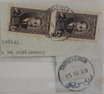 "Lebanon RARE Postmark On Piece : 1939 "" TRIPOLI LIBAN "" On PAIR Of 2.5p President Edde - Circular - Lebanon"