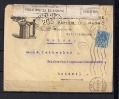 1915 MADRID, SOBRE CIRCULADO A WATTWIL EN SUIZA, RODILLO DE MADRID, BANDA DE CIERRE Y MARCAS DE CENSURA FRANCESAS - Cartas