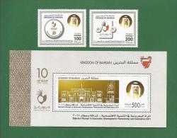 BAHRAIN 2011 - BAHRAINI WOMEN IN ECONOMIC DEVELOPMENT PARTNERSHIP & DEDICATION 10 YEARS - 2v + S.S MNH ** - As Per S - Bahreïn (1965-...)