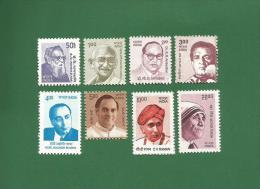 INDIA 2008 / 2009 - DEFINITIVE - 8v Set MNH ** -  BUILDERS OF MODERN INDIA , RAMASAMI GANDHI AMBEDKAR .. - As Per Scan - Inde