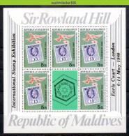 Mkg119b ZEGEL OP ZEGEL VOGEL DUIF PENNYBLACK *OVERPRINT* BIRD DOVE STAMP ON STAMP SIR ROWLAND HILL MALDIVES 1980 PF/MNH - Briefmarken Auf Briefmarken