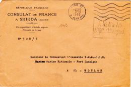 13403# LETTRE CONSULAT FRANCE SKIKDA ALGERIE MINISTRE AFFAIRES ETRANGERES Obl PARIS 1968 TOULON VAR VALISE DIPLOMATIQUE - Postmark Collection (Covers)