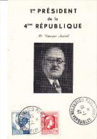 Histoire , Vincent Auriol, Deux Cartes  Congres Parlement Versailles 1947 - Geschiedenis