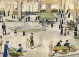 Petite Aquarelle Non Signée Non Datée -représentant La Place De Limoux, Ses Arcades Ses Commerces - Aude - Andere Sammlungen