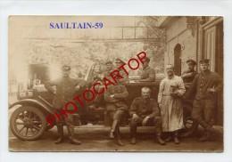 SAULTAIN-Voiture-Soldats-Automobile-Carte Photo Allemande-Guerre 14-18-1 WK-Frankreich-France-59- - Valenciennes