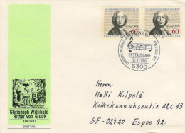 Deutschland/Germany, FDC 1987 (Michel 1343), Christoph Willibald Gluck, Komponist/composer, Noten/notaion  (HOV-1431) - Musik