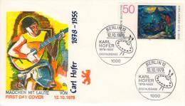 Berlin, FDC 1978 (Michel572), Malerei/painting, Musik/music, Karl Hofer, Laute/lute  (HOV-1438) - Musik