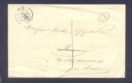 COTE D´OR 21 BEAUNE LAC Tad Type 15  Du 12/08/1852 Taxe 1 Et Timbre CL Rouge Pour MAITRANCEAUX Près BEAUNE TB - Postmark Collection (Covers)