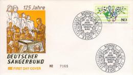 Deutschland/Germany, FDC 1987 (Michel 1319), Chor/choir, Sängerbund/singing Society, Noten/notaions (HOV-1449) - Muziek