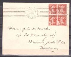 Enveloppe De 1914 - Bloc De 4 Du N° 147 - Croix Rouge - De Bordeaux Pour Bordeaux - Croix-Rouge