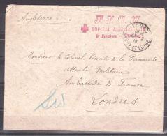 Enveloppe  De 1918 Pour L'Ambassade De France à Londres Depuis L'Hôpital Auxiliaire 10 De Tours - Croix Rouge SSBM - Croix-Rouge