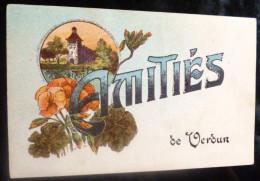 Litho ILLUSTRATEUR Lardier Fleurs Pensées Monument Medaillon Bonjour Souvenir Amitiés De Verdun Paillettes - Greetings From...