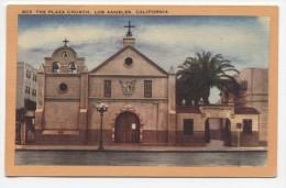 CA ~ The Plaza Church LOS ANGELES California c1940's Postcard