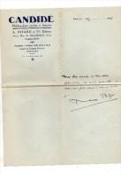 René Bizet.Lettre Autographe Signée.1 Page à En-tête De Candide.3 Lignes.4-4-1935. Envoi à Claude Gevel. - Autographes