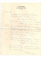 Titaÿna.Lettre Autographe Signée.1 Page Sur Du Papier  à En-tête De Titaÿna.15 Lignes.envoi à Claude Gevel .Avril 1935. - Autographes