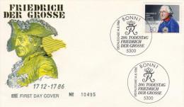 Deutschland/Germany, FDC 1986 (Michel 1292), Friedrich Der Große, König/king, Musiker/musician (HOV-1454) - Musik