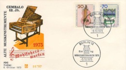 Berlin, FDC 1973 (Michel 459/462), Musikinstrument/music Instrument, Drehleier/Hurdygurdy, Orgel(organ (HOV-1457) - Musik