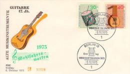 Berlin, FDC 1973 (Michel 460/461), Musikinstrument/music Instrument, Trommel/Drum, Laute/Lute (HOV-1458) - Musik