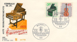 Deutschland/Germany, FDC 1973 (Michel 783/784), Musikinstrument/instrument, Klavier/Piano,Gitarre/guitar (HOV-1460) - Musik