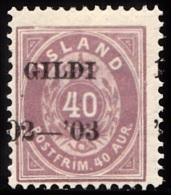 1902. I GILDI. 40 Aur Lilac. Perf. 12 3/4. Black Overprint. Variety On AFA 15y. (Michel: 32B) - JF156335 - 1873-1918 Danish Dependence