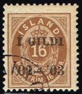 1902. I GILDI. 16 Aur Brown. Perf. 12 3/4. Black Overprint. Cancel?. (Michel: 29B) - JF158822 - Neufs