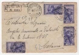 Italia Al Lavoro Su Raccom. 4 Esemplari Del 20 Lire 1953 Da Tremestieri Etneo A Catania - 1946-60: Marcophilia