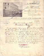"""BELGIQUE - BRUXELLES - DEMENAGEMENTS , VASTES GARDE MEUBLES - CAMIONAGES - """" LA MONDIALE """" - LETTRE - 1908 - Belgique"""