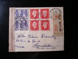 Enveloppe R.Lille Moulin 034,vers La Belgique (Lembeke),blocs De Quatre 673 Et 691 - France