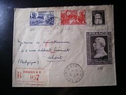 Enveloppe R.Bordeaux R.P.057,vers La Belgique (Alost),série N°606 à 608, Et 601 - France
