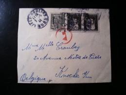 Enveloppe Trajet Lille Nord Vers La Belgique (Knocke Sur Mer),n°531,601 X 2 - France