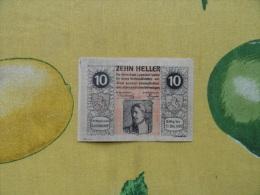NOTGELD 10 Heller  Austria Osterreich Zehn Heller 1920 - Banconote