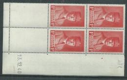 France N° 472 XX  Effigie Mal Pétain : 1 F. Rouge En Bloc De 4 Coin Daté Du 13 .12 . 40, Sans Charnière,  TB - 1940-1949