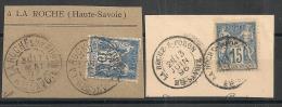 2 Oblitérations LA ROCHE SUR FORON, Haute Savoie , Type A Et 18 Sur SAGE. - Marcophilie (Timbres Détachés)