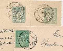 29 Et 31 DEC. JOUR DE L 'AN. 3 Devants SAGE TANINGES Haute Savoie. - 1877-1920: Periodo Semi Moderno