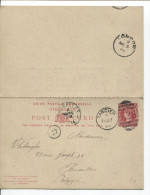Entier CP PSC Gibraltar Tangier 1894 To Bruusels Arrival Canc.transit London PR1589 - Gibraltar