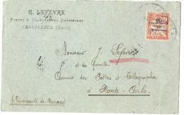 LPP7- MAROC - MOUCHON 10c SURCHARGE PROTECTORAT SUR LETTRE CASABLANCA/MONTE CARLO 20/12/1914 (?) CACHET ARRIVEE 3/1/15 - Maroc (1891-1956)