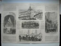 GRAVURE 1870. INAUGURATION DES OSSUAIRES DE SAN MARTINO ET DE SOLFERINO. 5 GRAVURES AVEC EXPLICATIF, SUR DOUBLE FEUILLET - Prints & Engravings