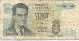 --ROYAUME DE BELGIQUE--TRESORERIE--20 FRANCS--15.06.64--N° 2R0625209--TRACES DE PLIS-- - [ 2] 1831-... : Royaume De Belgique
