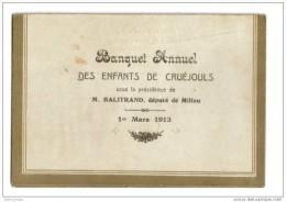 Menu Banquet Annuel Cruejouls Millau 1913 Balitrand Député - Menus
