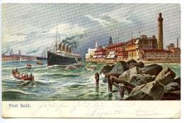 Port Said, 14.9.1908, Suezkanal, Künstlerkarte, Titanic ? 4 Schornsteine, Stamp - Port Said