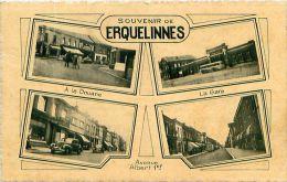 Cpsm BELGIQUE - ERQUELINNES - Souvenir, Multivues : à La Douane, La Gare, Avenue Albert 1er - Erquelinnes