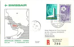 """Luftpost  """"Swissair - Erstflug Zürich - Dubai""""               1976 - Airmail"""