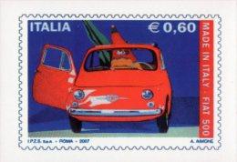 [DC1028] CARTOLINEA - FIAT 500 - RIPRODUZIONE FRANCOBOLLO PER I 50 ANNI DELLA 500 - Cartoline