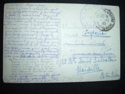 CP DE TARASCON OBL.12-11-40 TARASCON S/RHONE (13) + CACHET REGIMENTAIRE VIOLET - Marcophilie (Lettres)